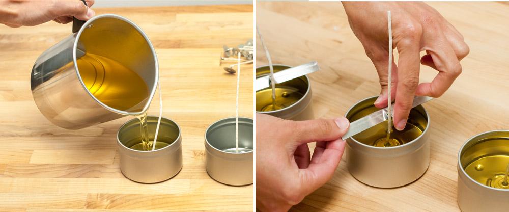 Pour citronella candle wax