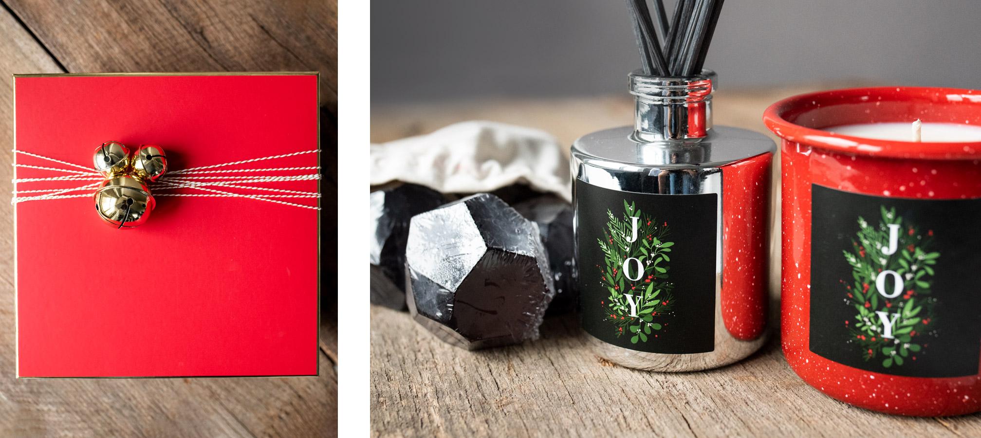 Closeup of holiday gift set
