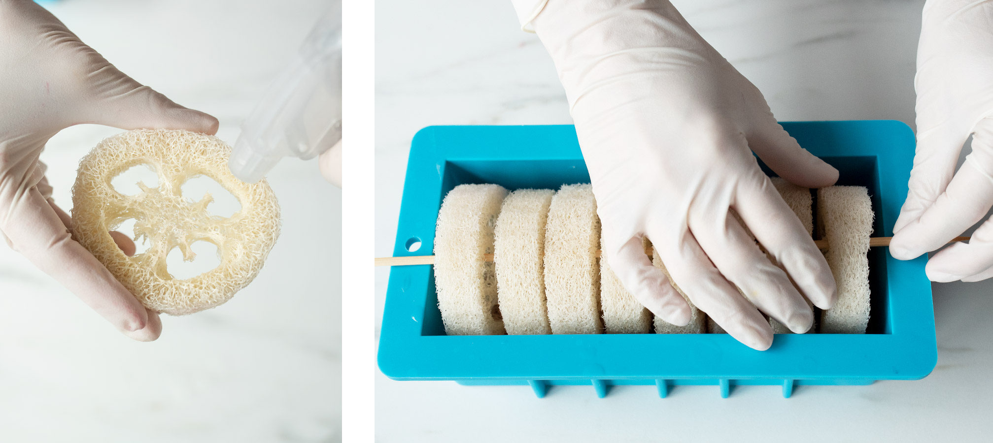 Placing loofah into silicone mold