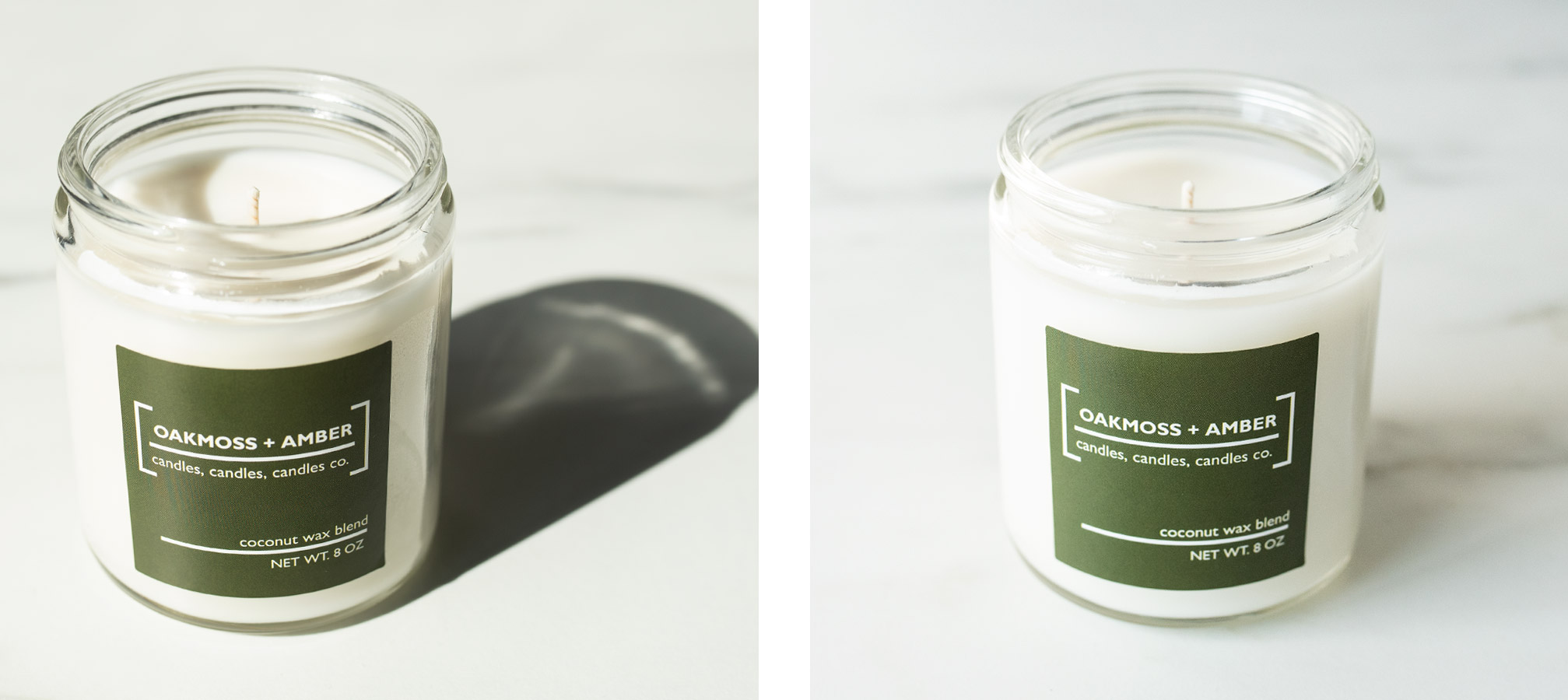Comparison of candles photographed in direct light versus diffused natural light