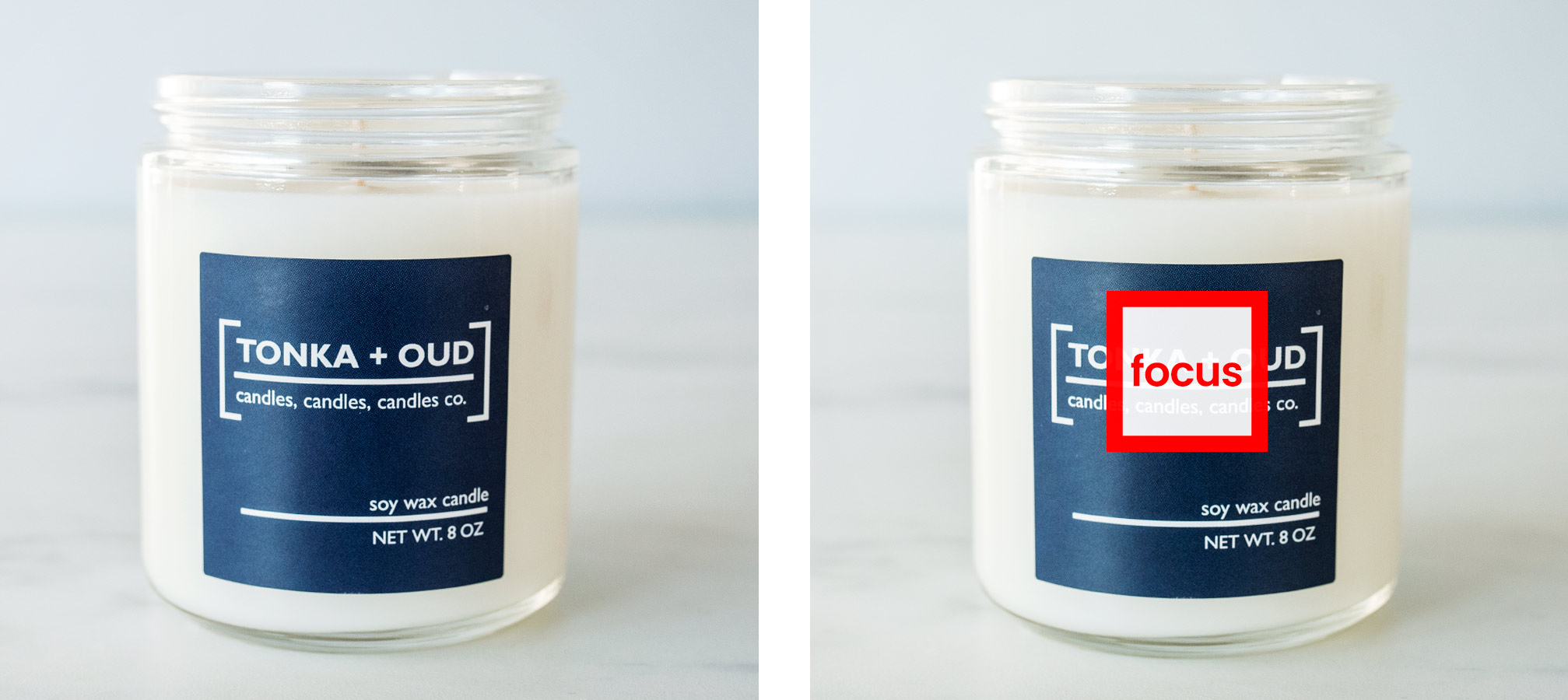 Comparison of candles photographed showing focal point