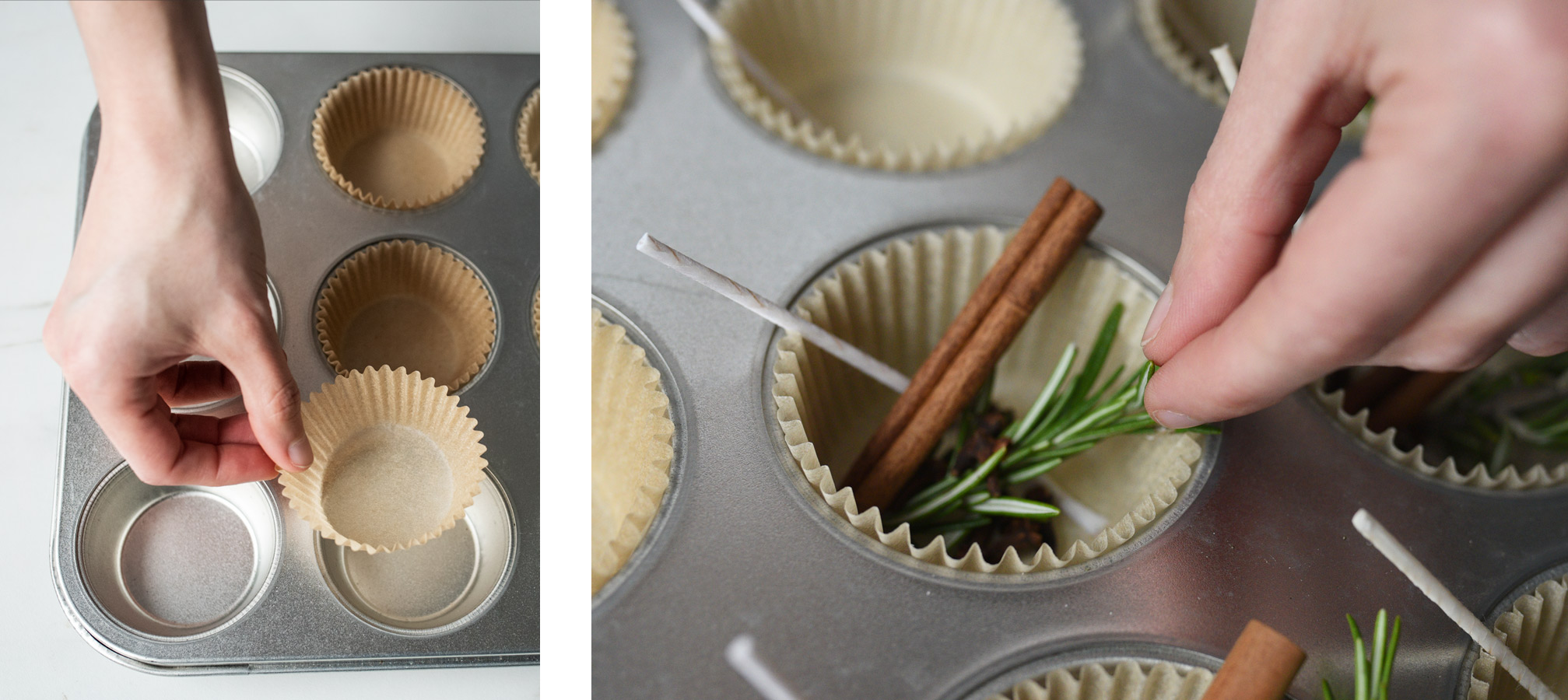 Placing muffin wrappers into muffin tin.