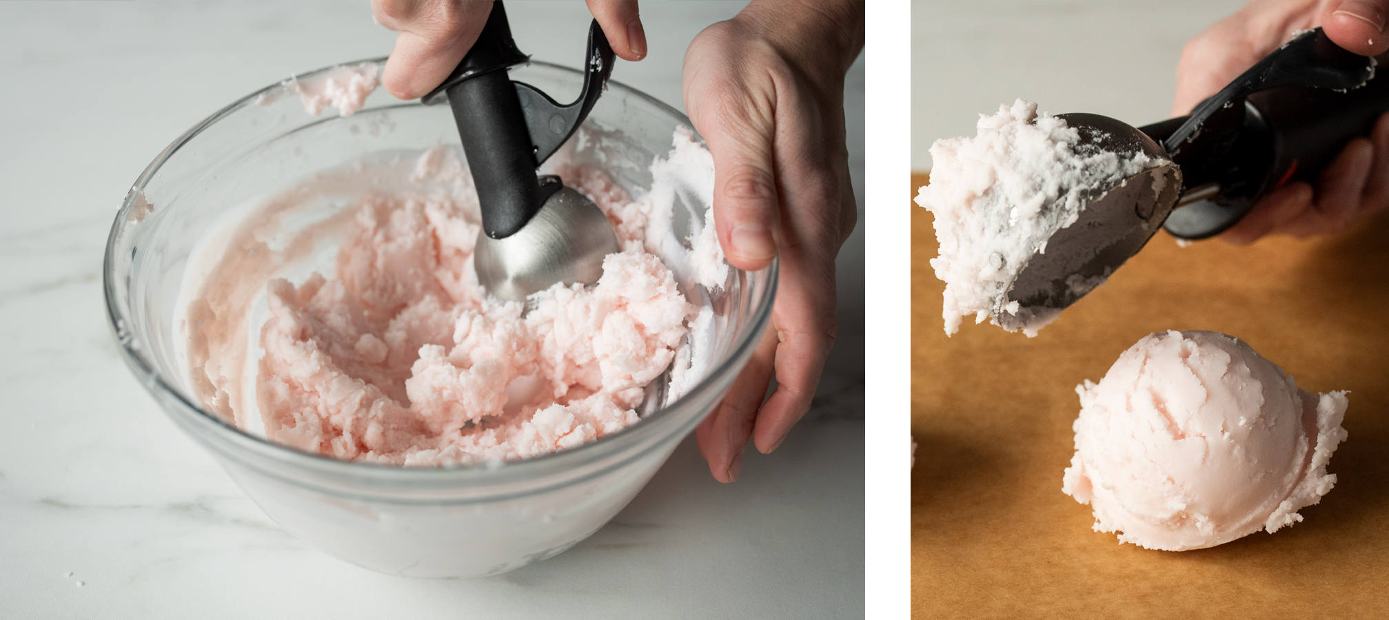 Scooping cooled soy wax with an ice cream scoop