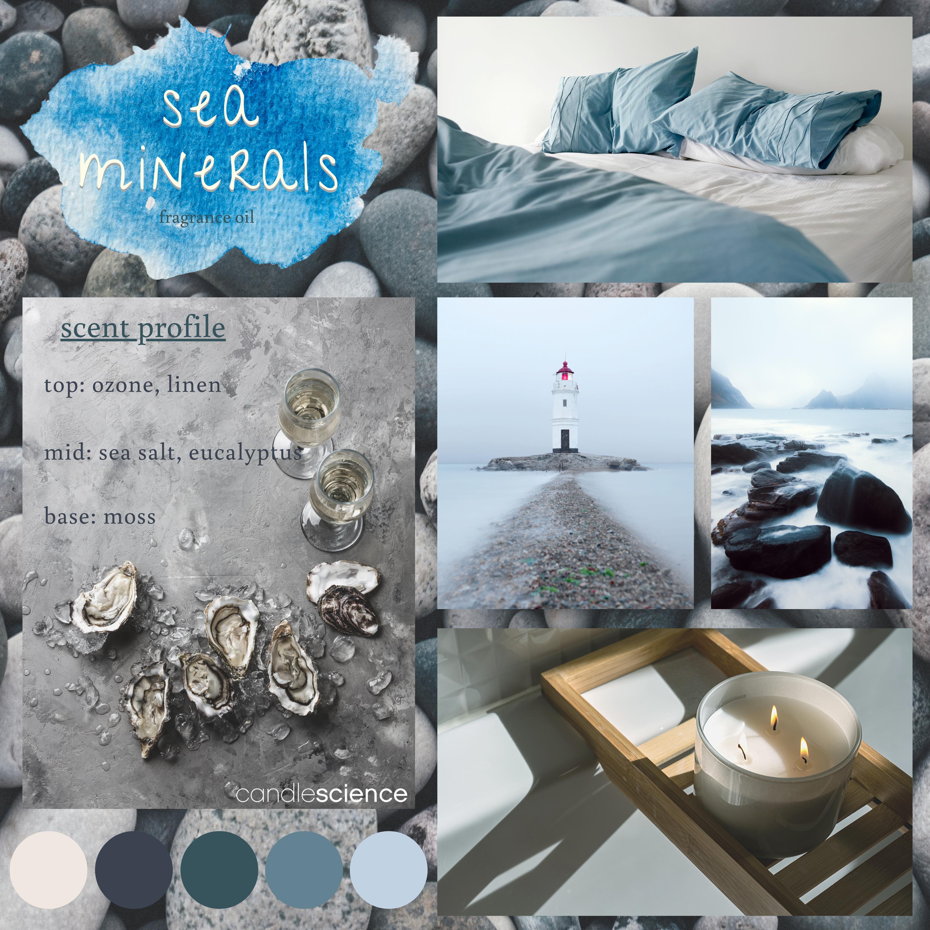Sea Minerals fragrance oil mood board