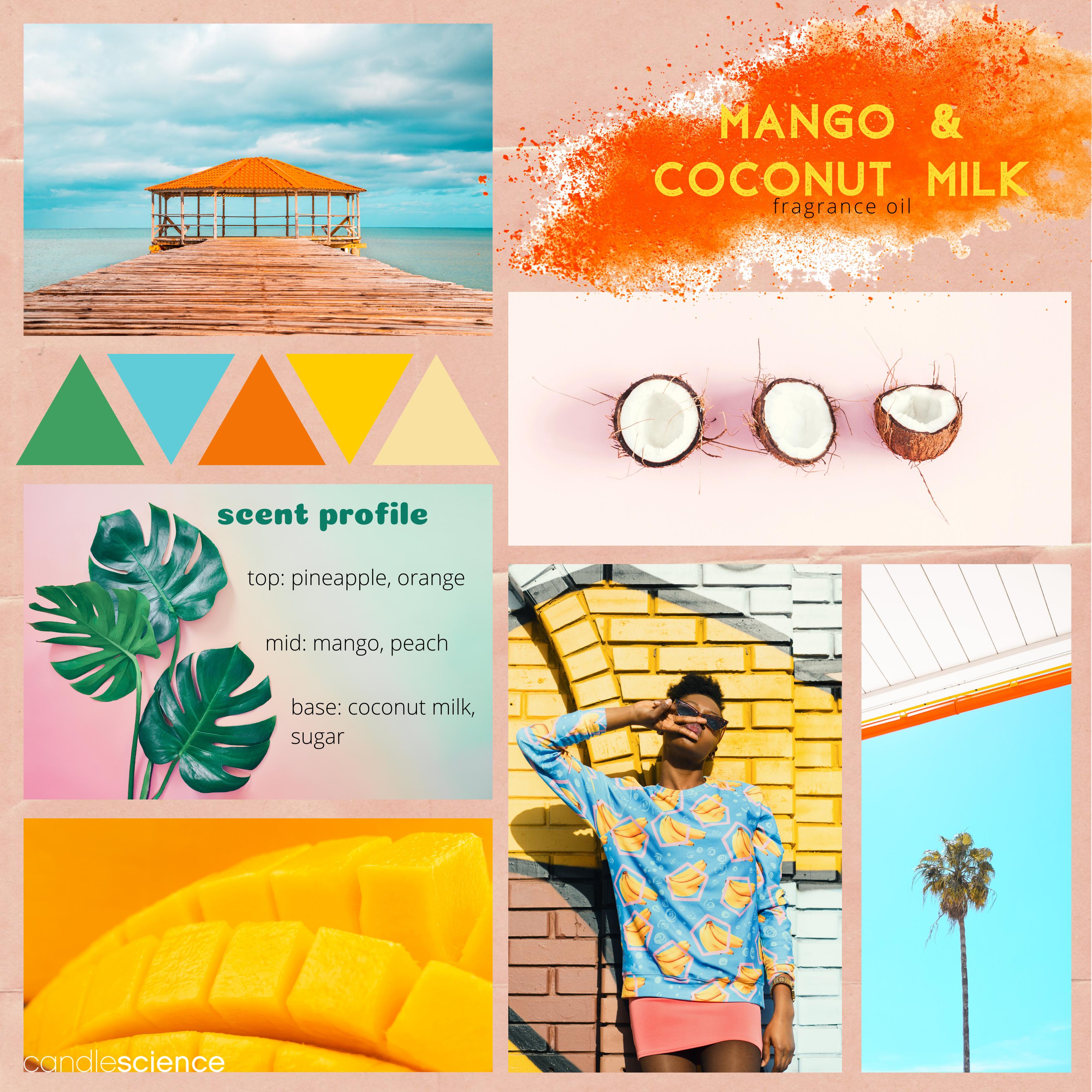 Mango and Coconut Milk fragrance oil mood board
