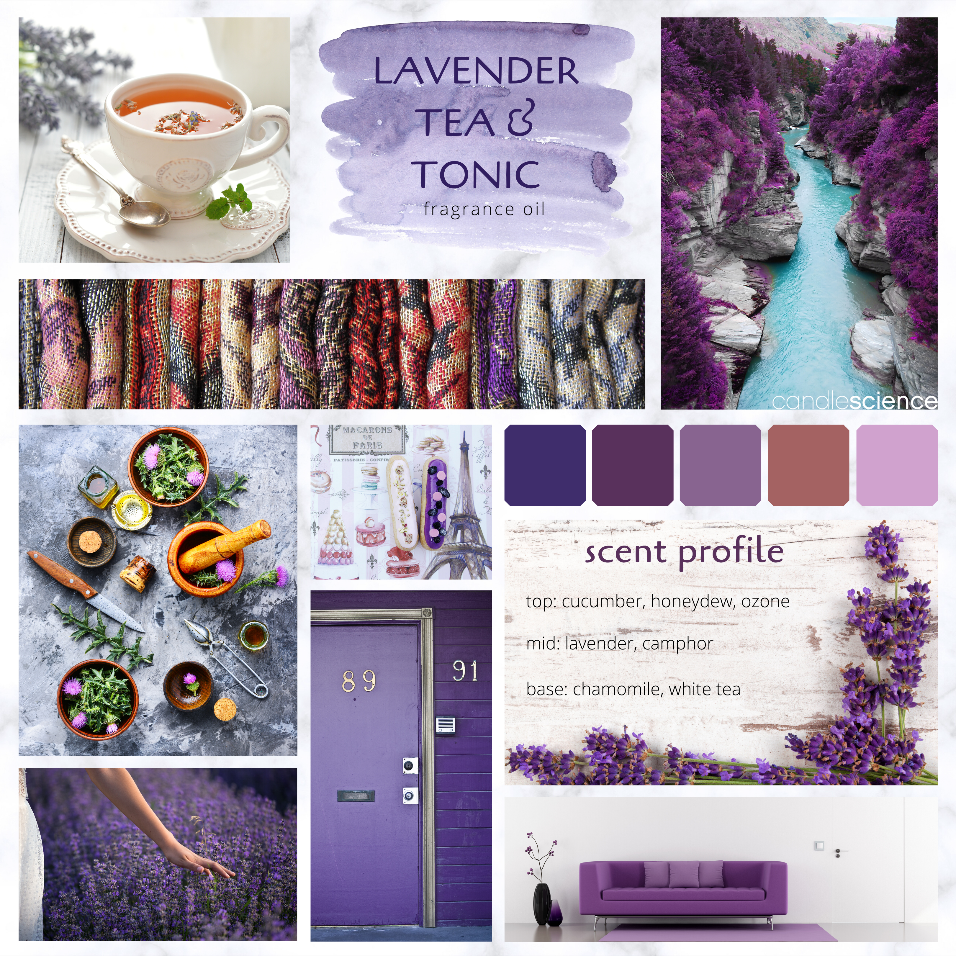 Lavender Tea and Tonic fragrance oil mood board