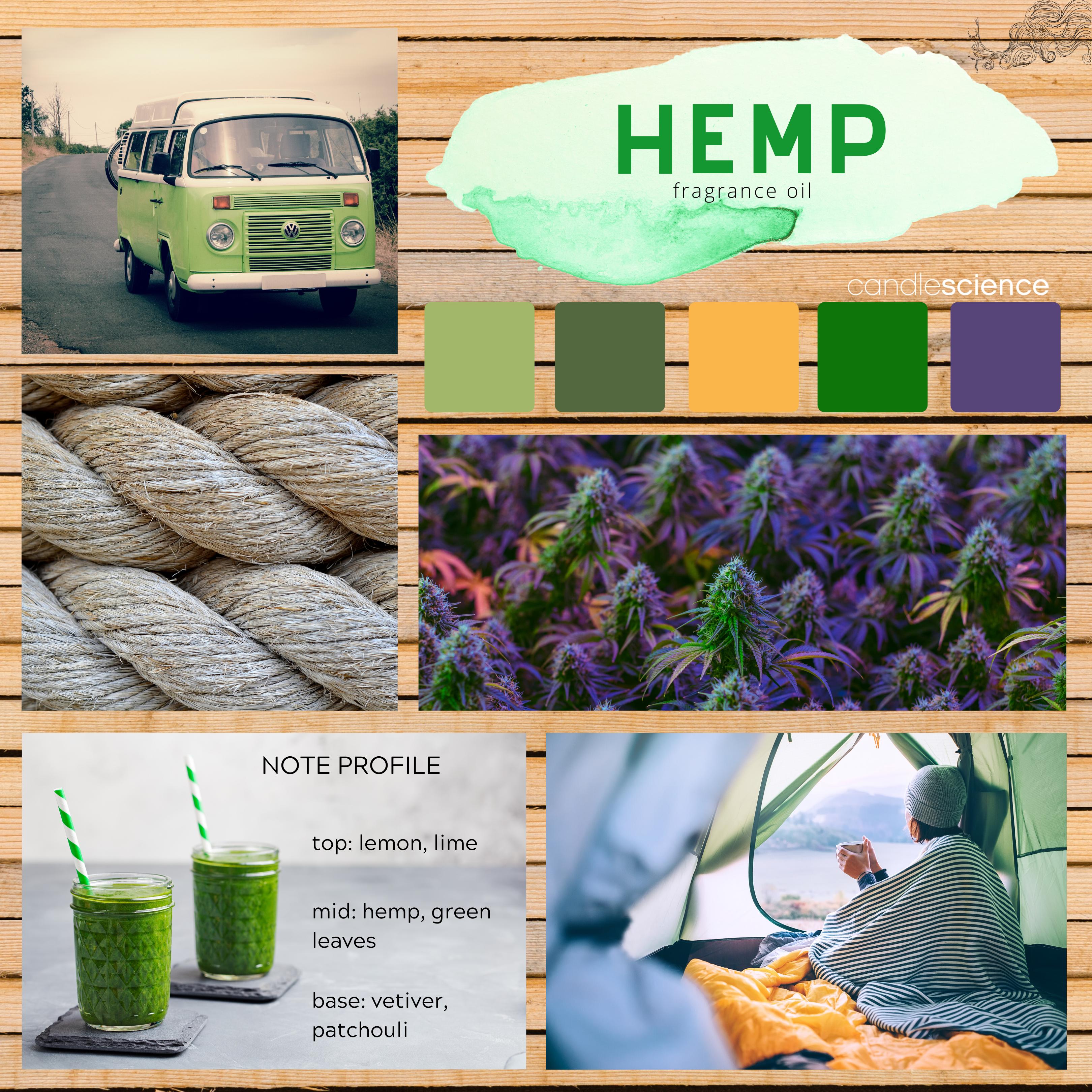 Hemp fragrance oil mood board