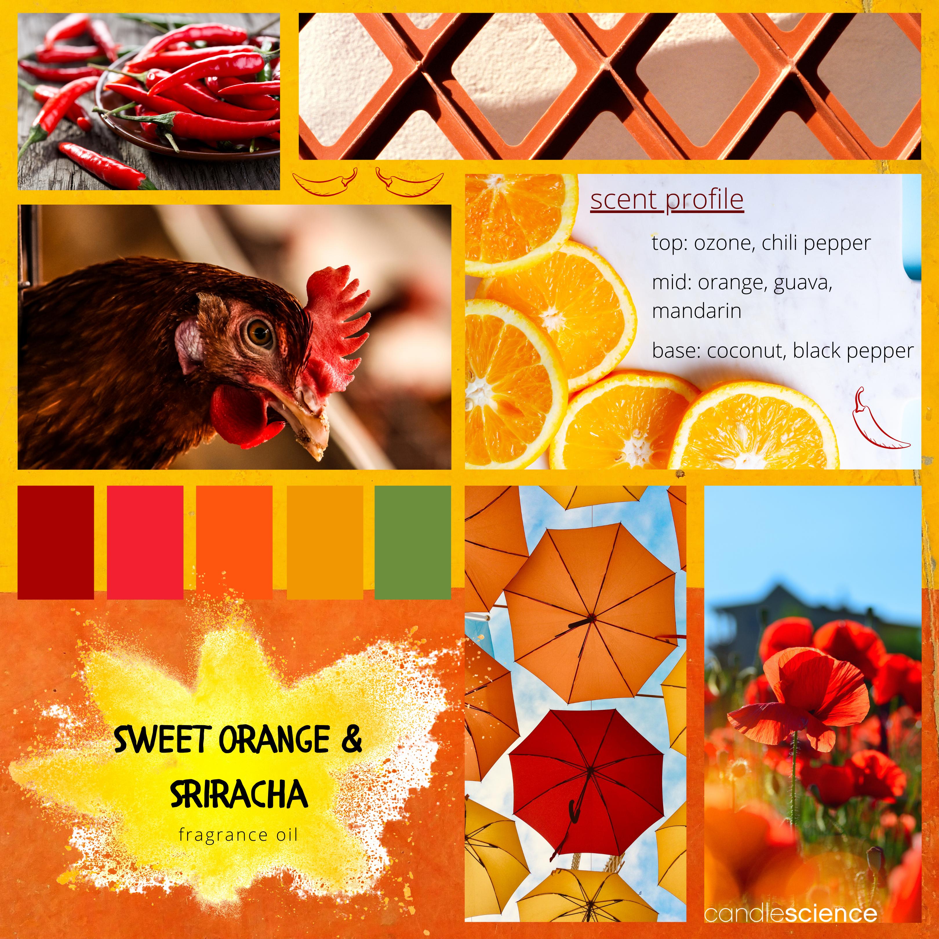 Sweet Orange and Sriracha fragrance oil mood board