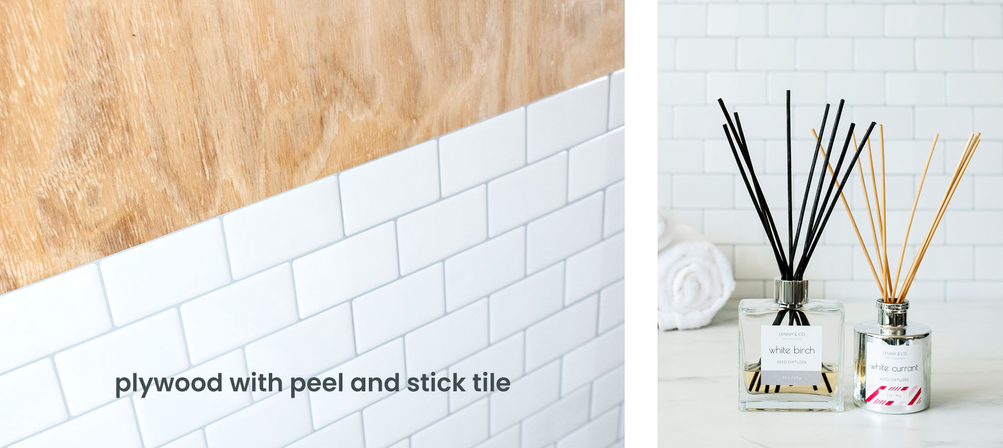 Reed diffusers in a tiled bathroom setting