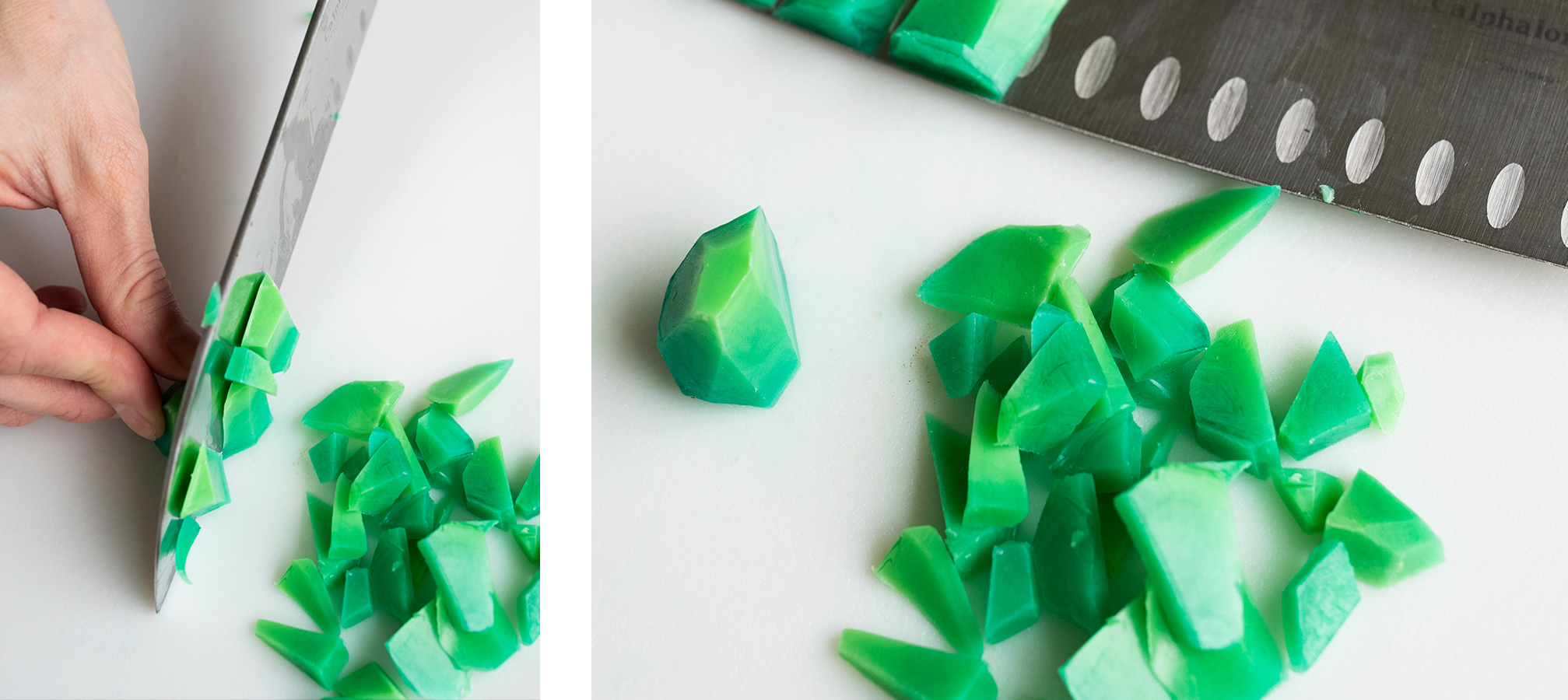 Cutting green melt and pour soap into small pieces