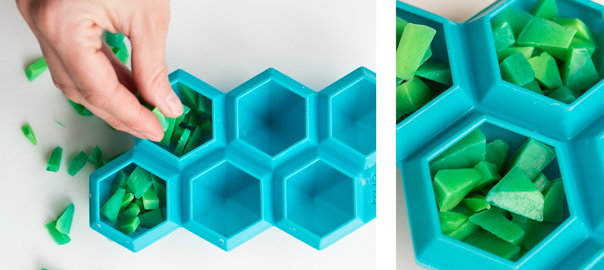 Placing small melt and pour soap pieces into diamond shape silicone mold
