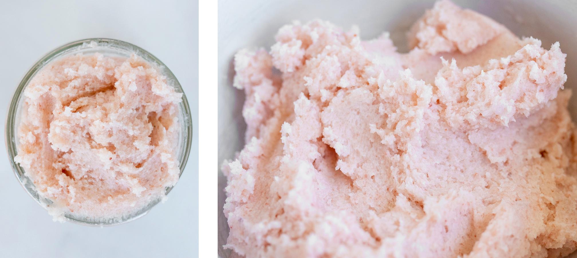 Close up of DIY Himalayan pink salt scrub.