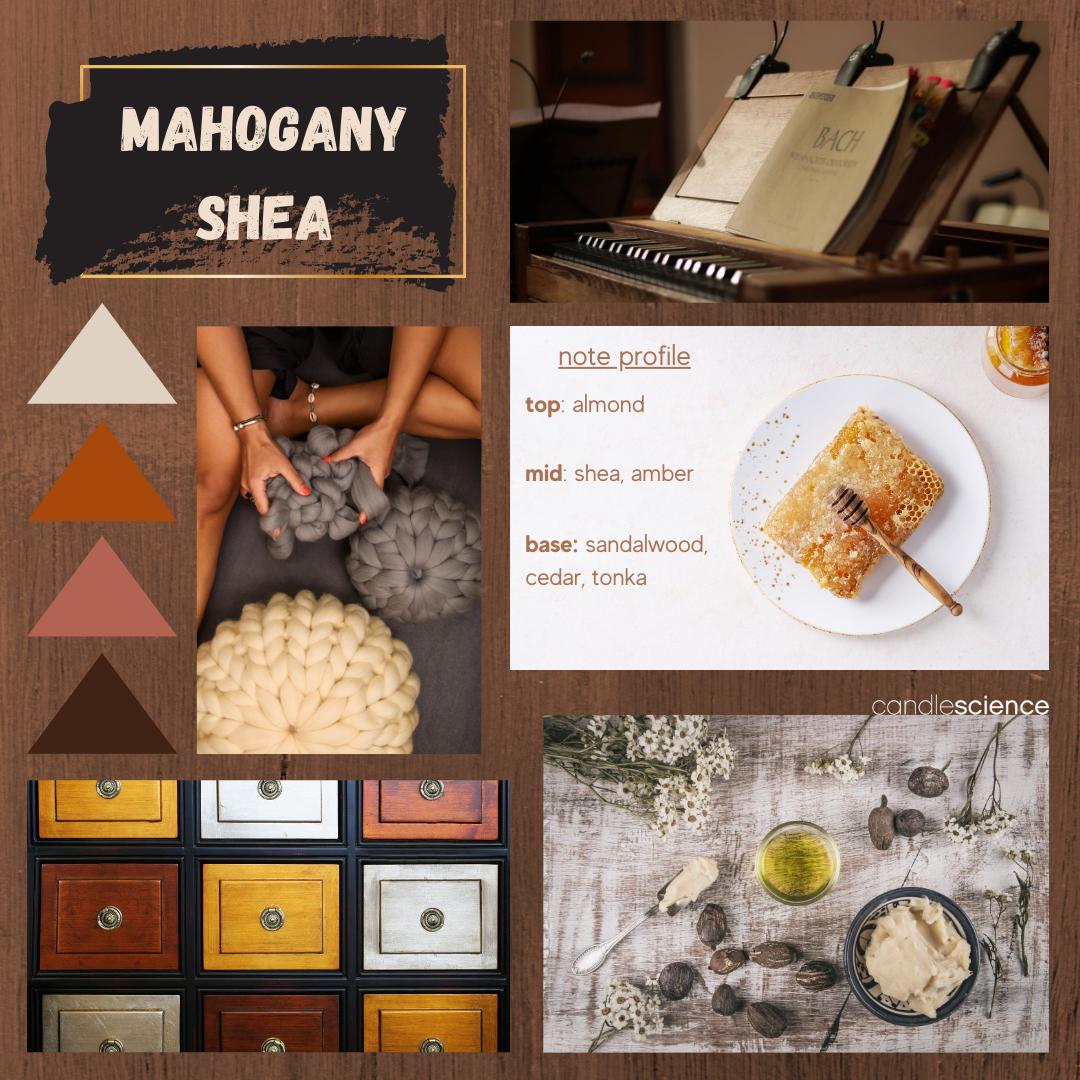 Mahogany and Shea fragrance oil mood board