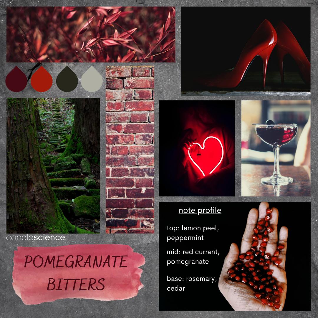Pomegranate Bitters fragrance oil mood board