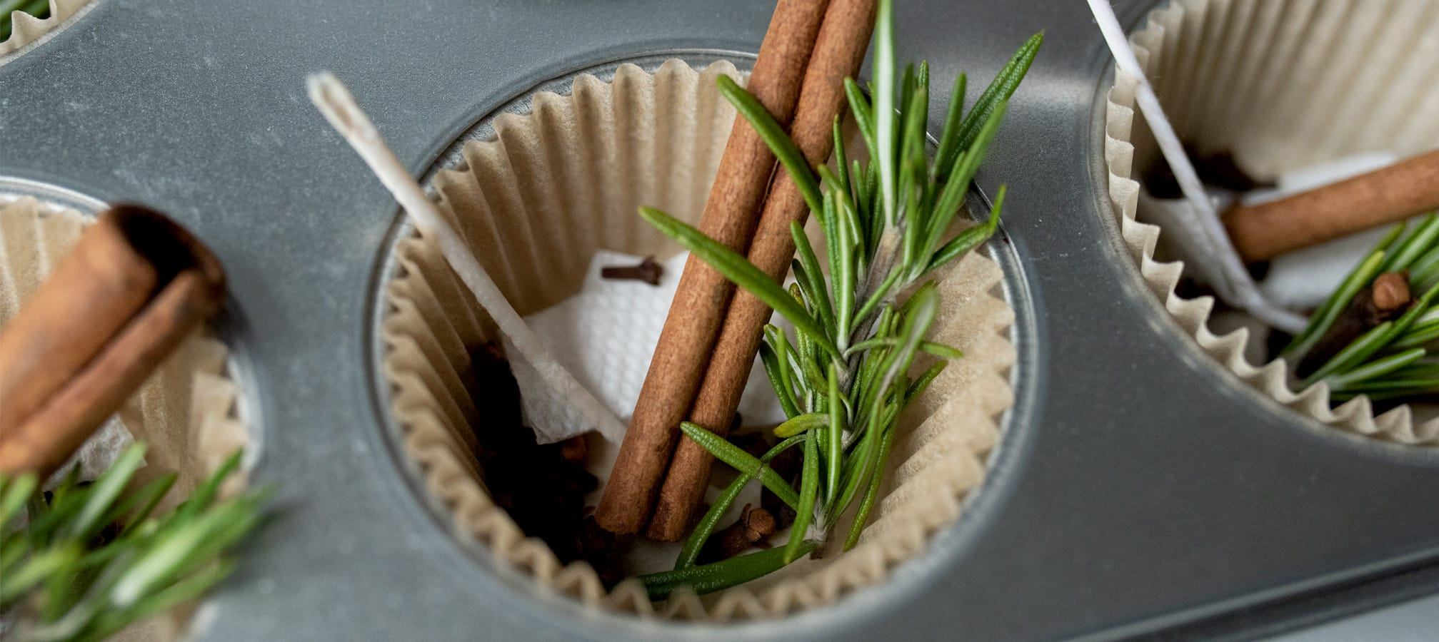 Rosemary and cinnamon in a muffin tin.