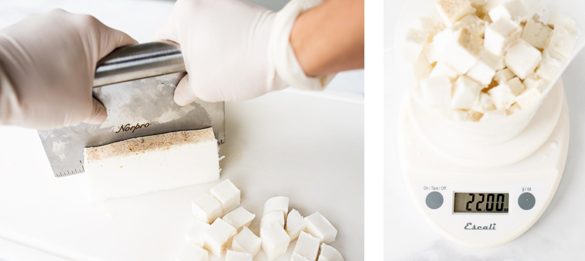 Cutting oatmeal shea soap base and weighing it.