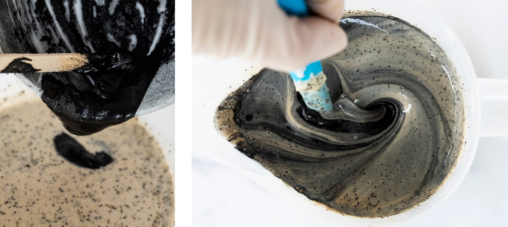 Stirring activated charcoal into soap base.