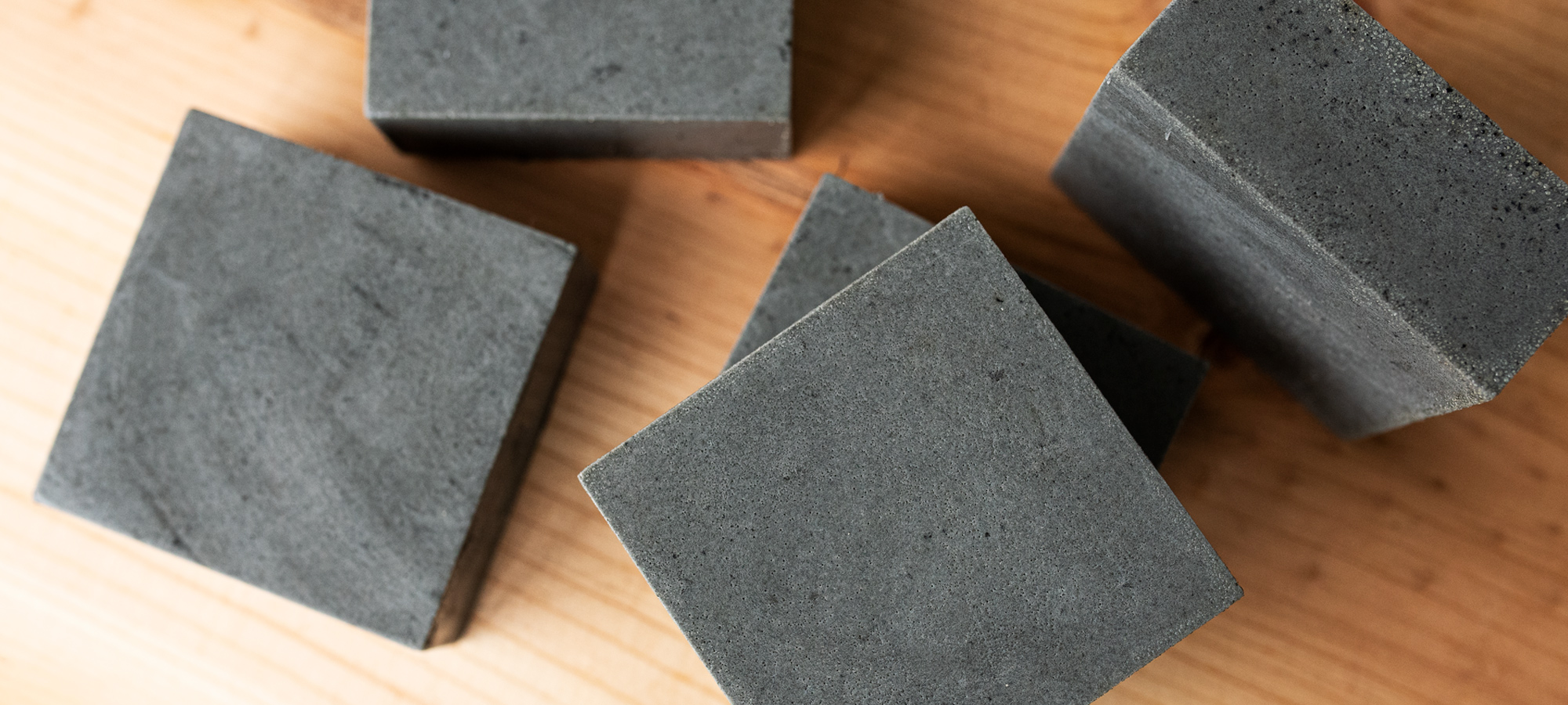 Charcoal and coffee soap square bars