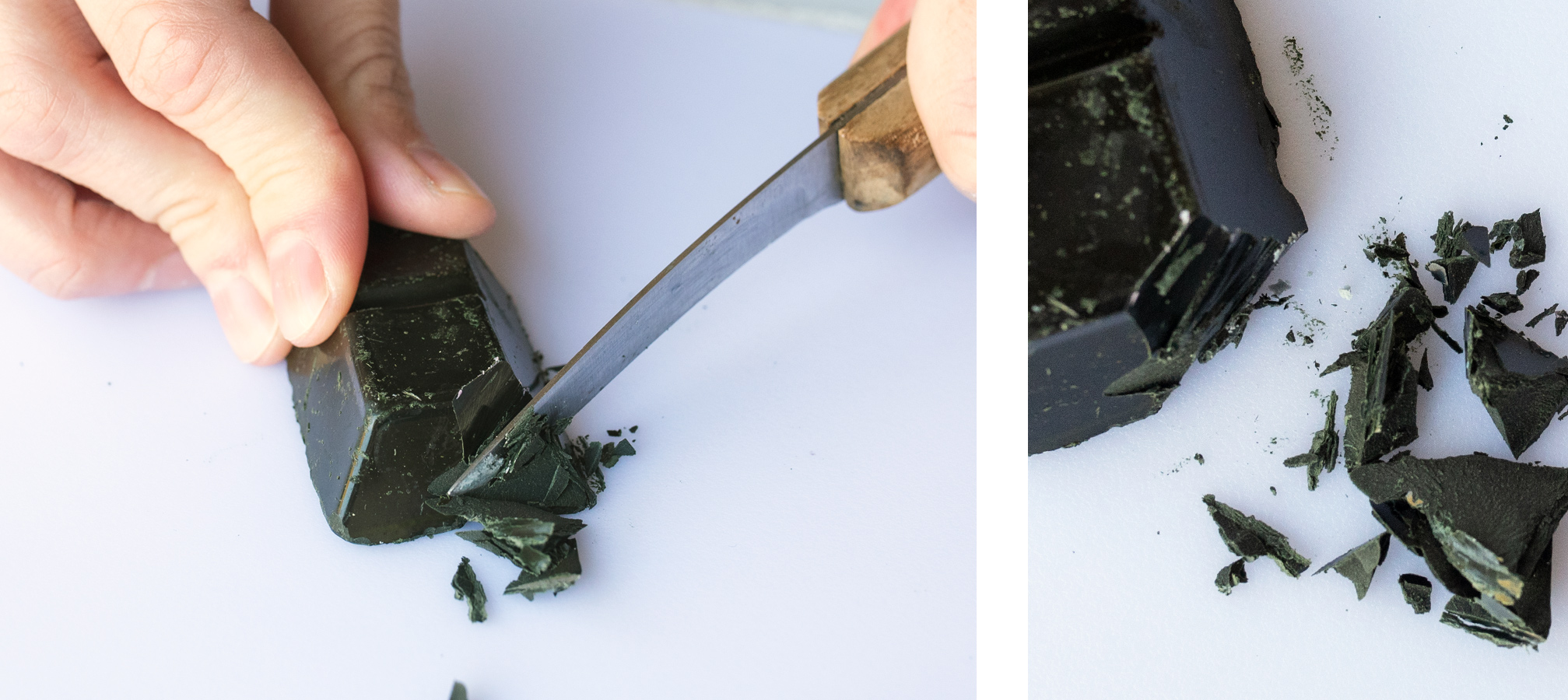 Cutting a piece off a Forest Green Dye Block for candle making.