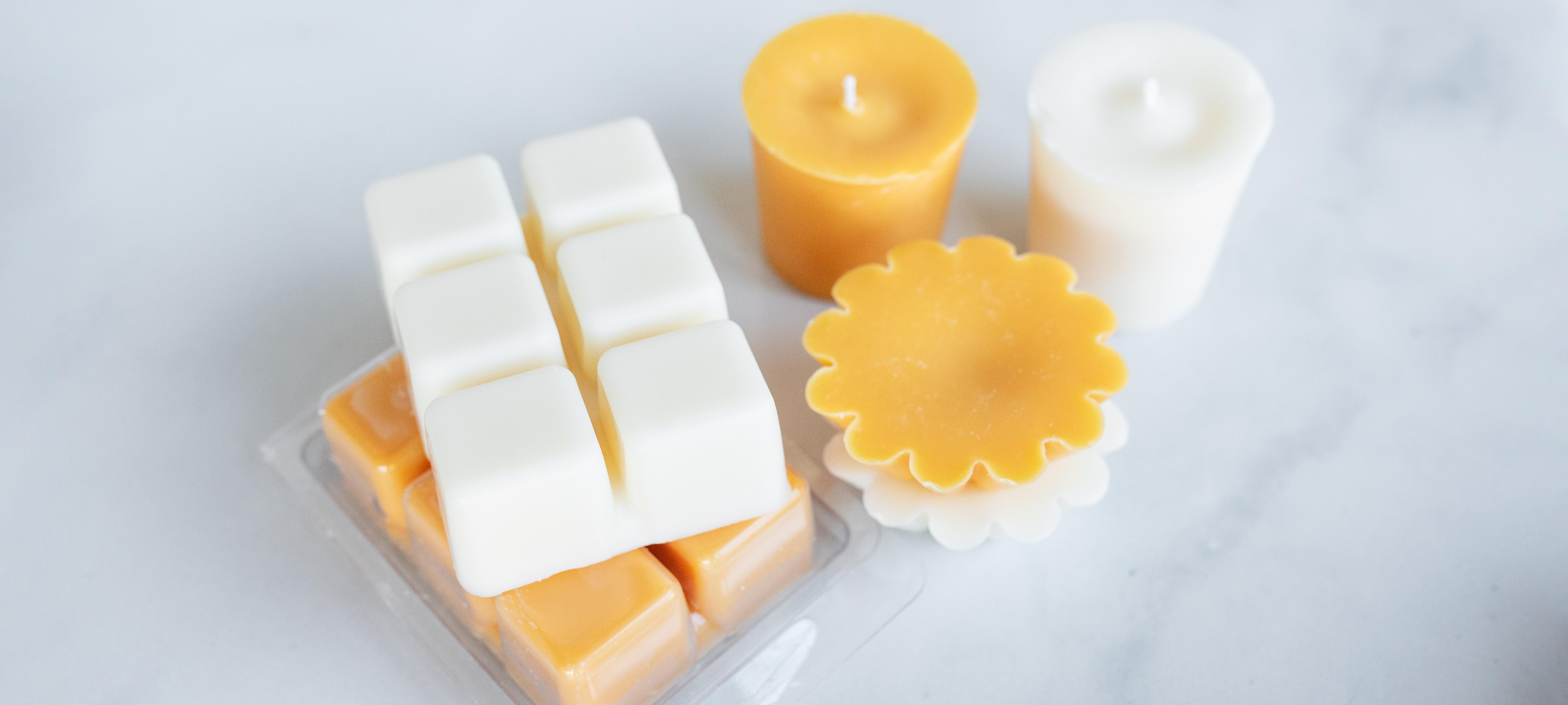 Soy wax melts, clamshells, votives, and wax tarts.