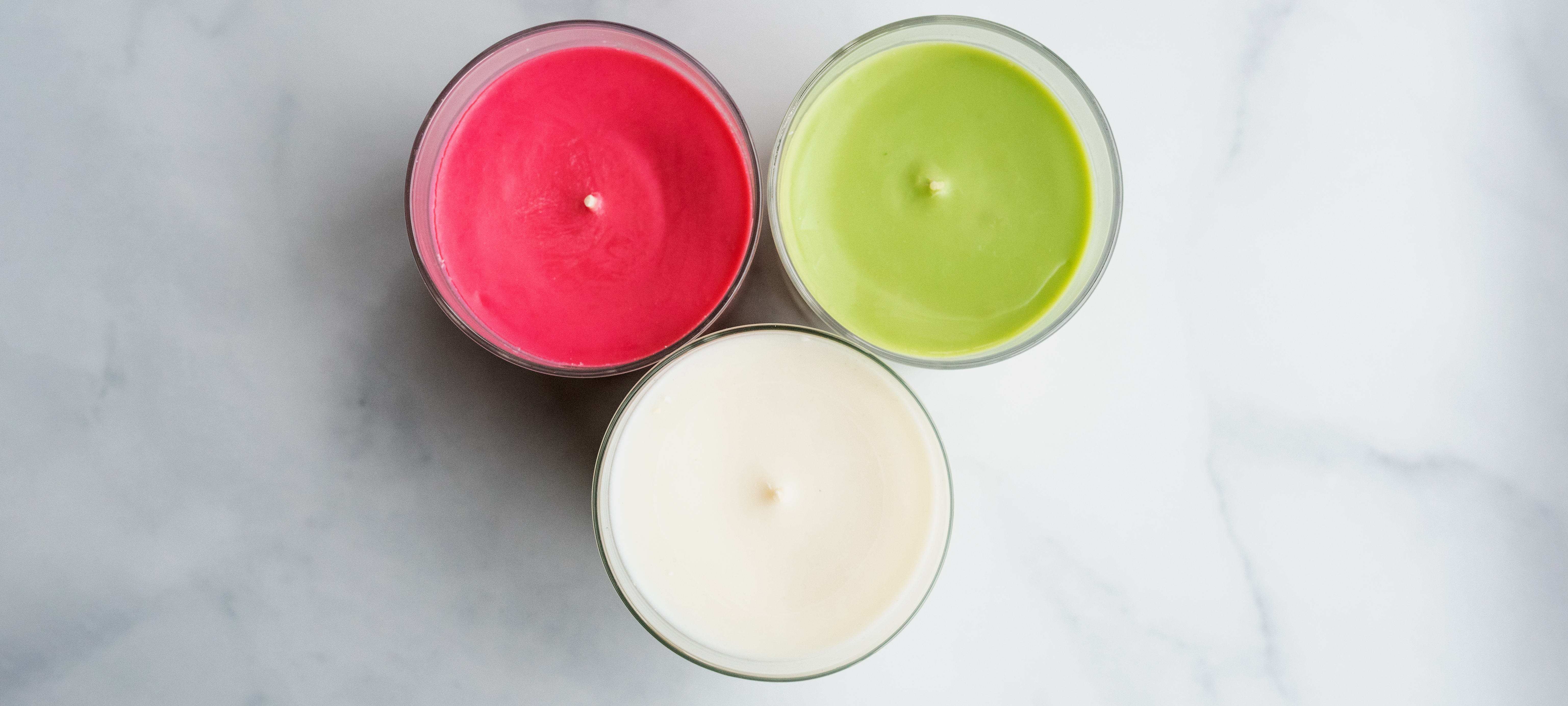 Overhead image of soy candles.