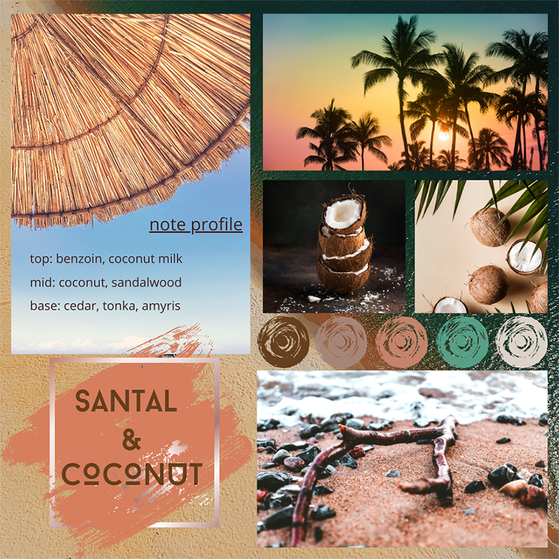 Santal-and-coconut-fragrance-oil-mood-board
