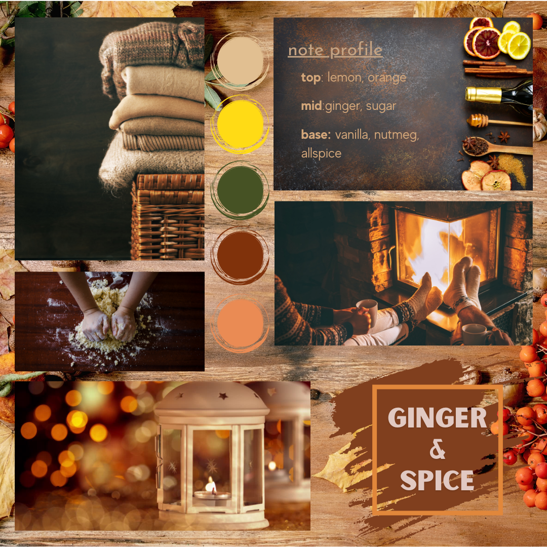 Ginger and spice fragrance oil mood board