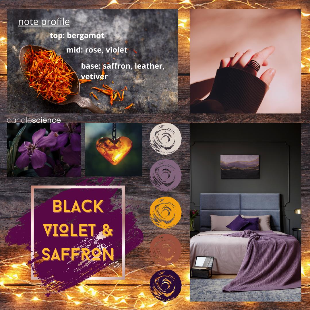 Black Violet and Saffron Fragrance Oil Mood Board