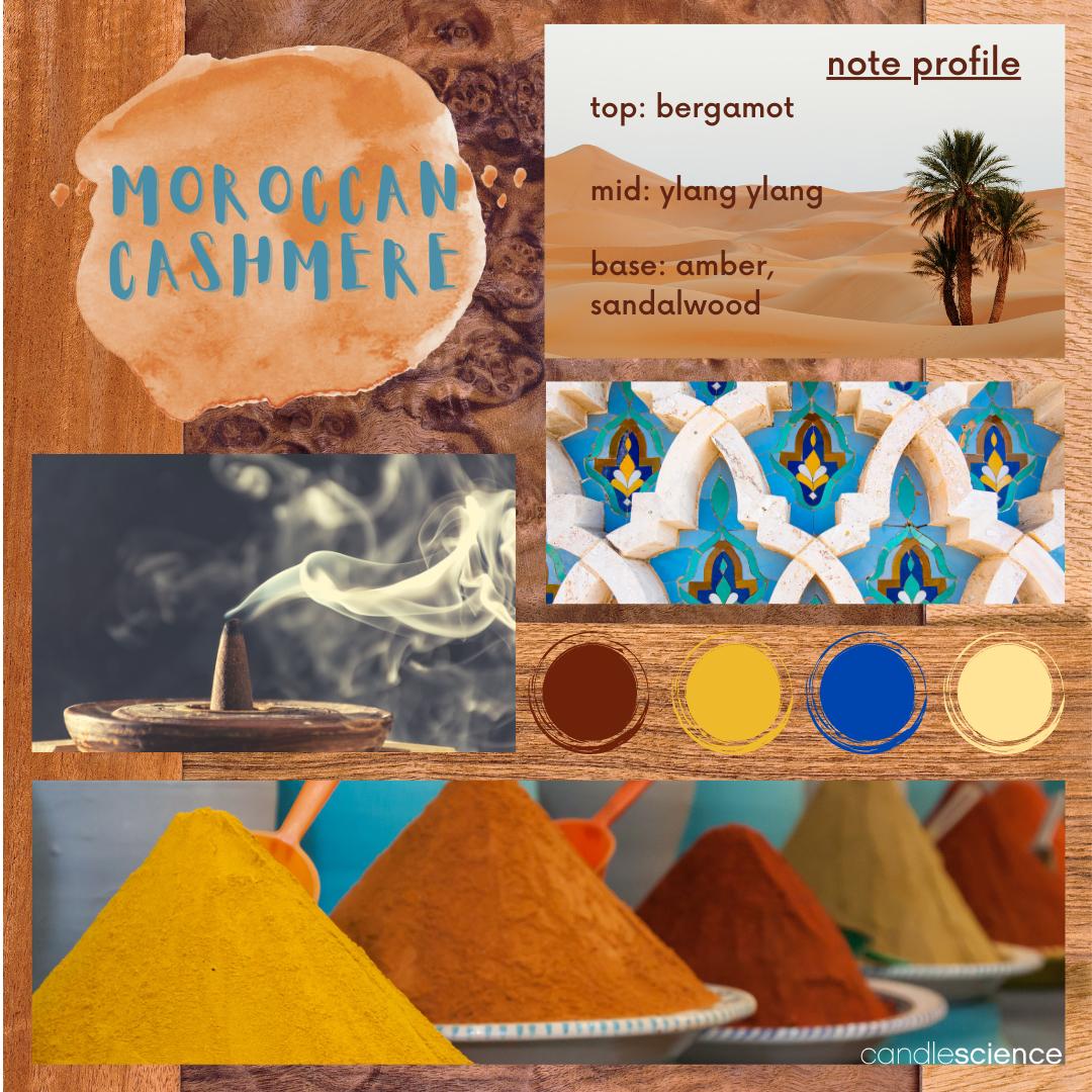 Moroccan Cashmere fragrance oil mood board.