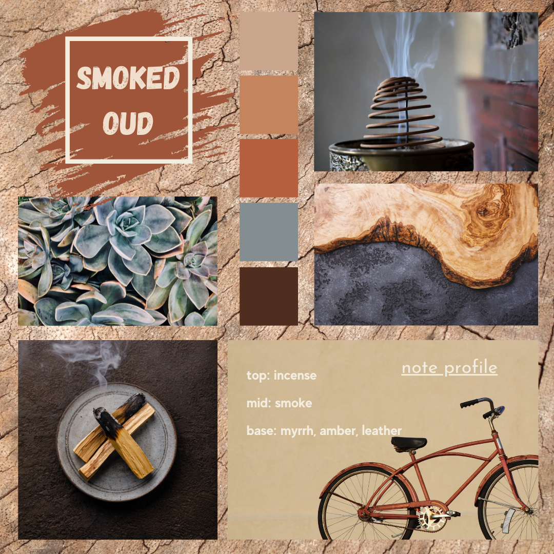 Smoked Oud fragrance oil mood board.