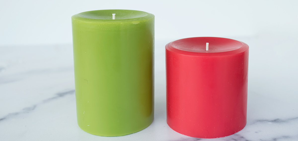 Two pillar candles.